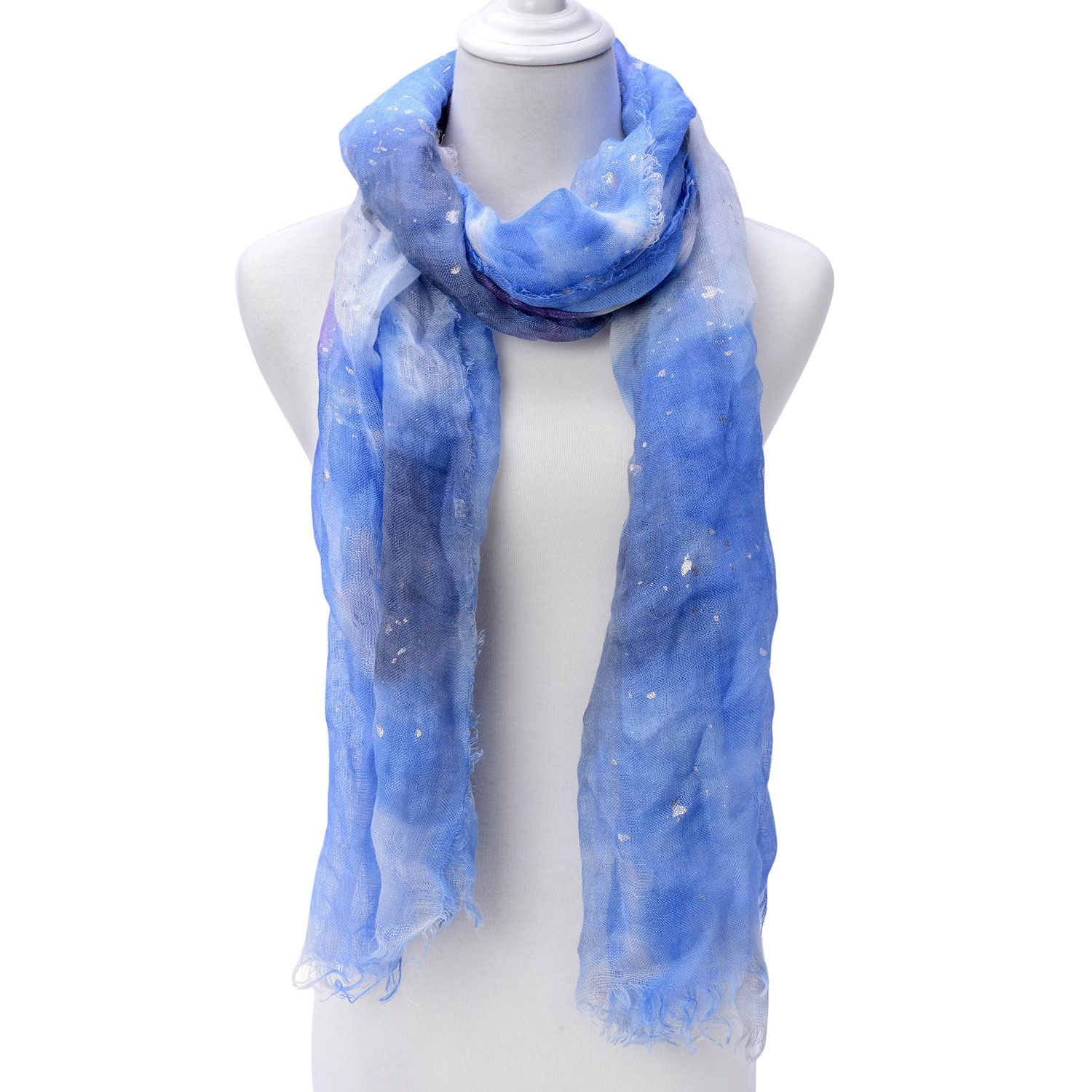 Blue 75% Linen and 25% Cotton Scarf (78x31 in)