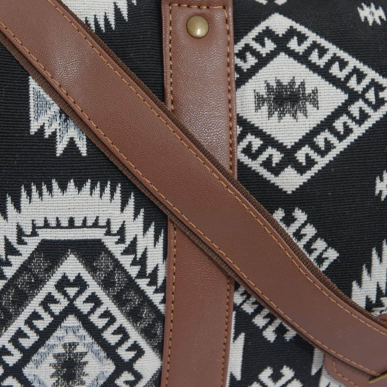 Black and White Aztec Print Duffel Bag (19x8x12 in)