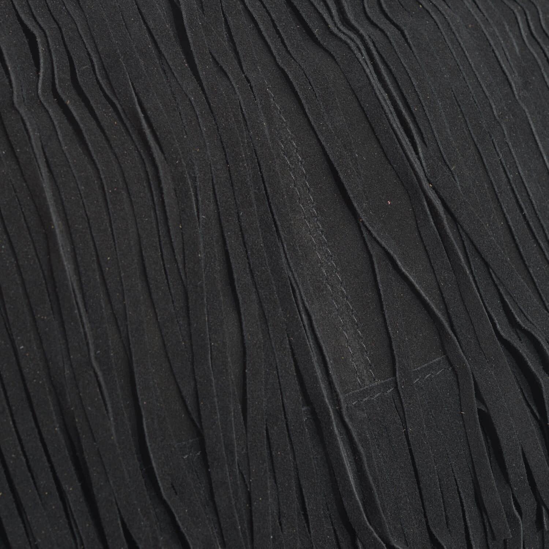 Black Genuine Leather Fringe Crossbody Bag (10x4x10 in)
