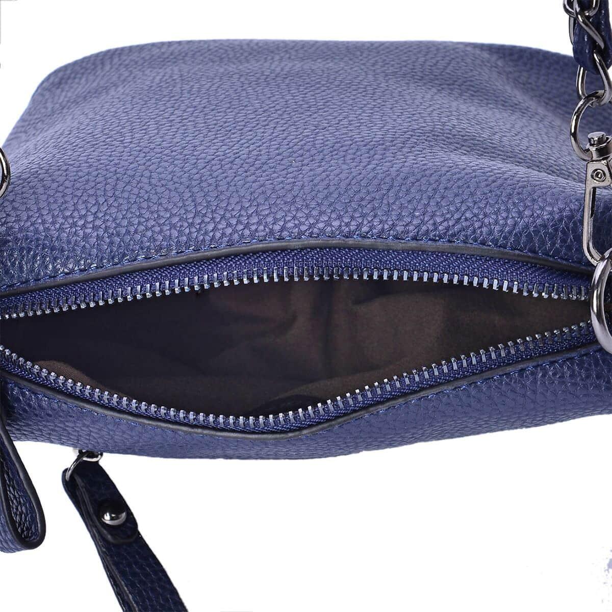 J Francis - Blue Faux Leather Crossbody Bag (8x4x8 in)