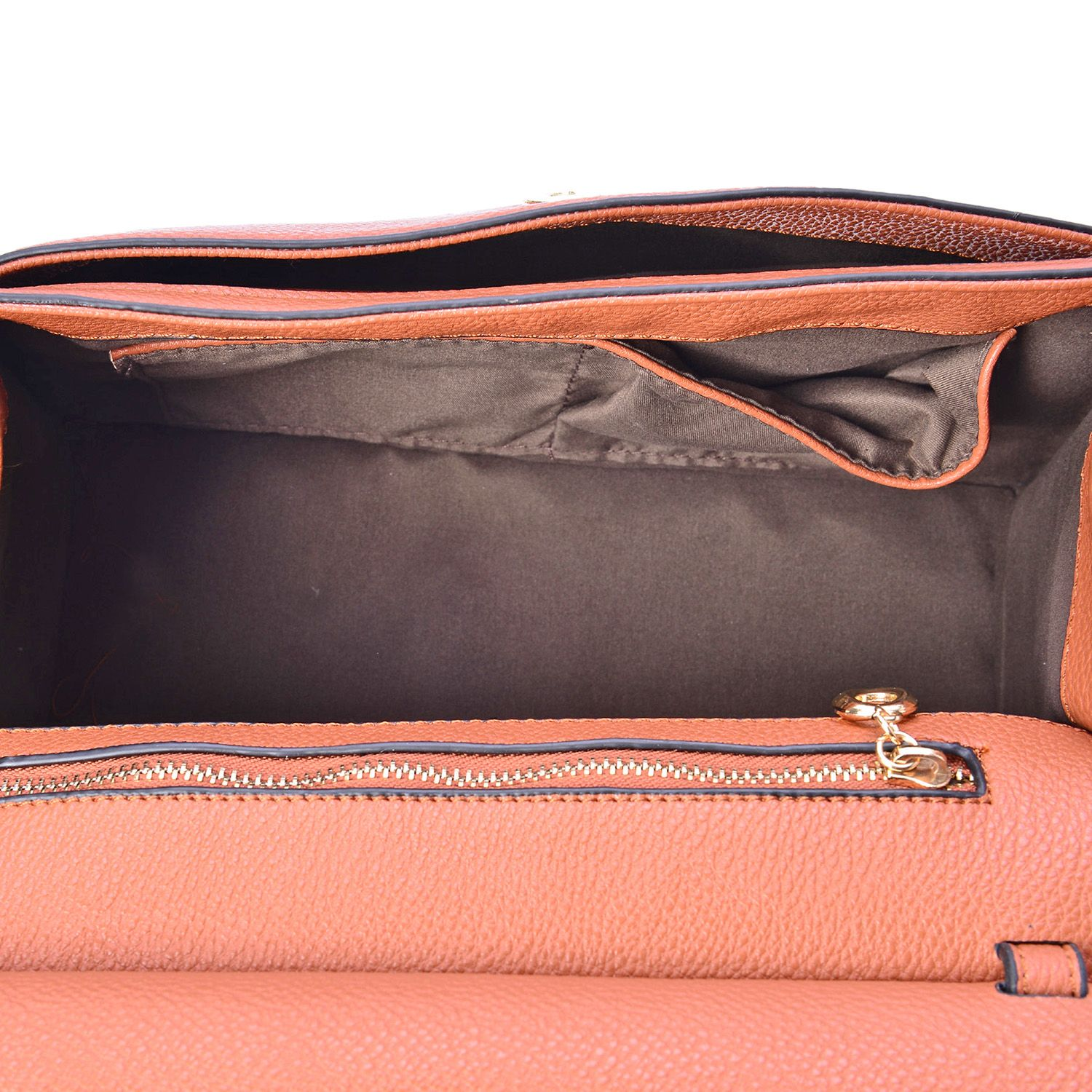 J Francis - Camel Faux Leather Crossbody Bag with Tassel (11x5x8 in)