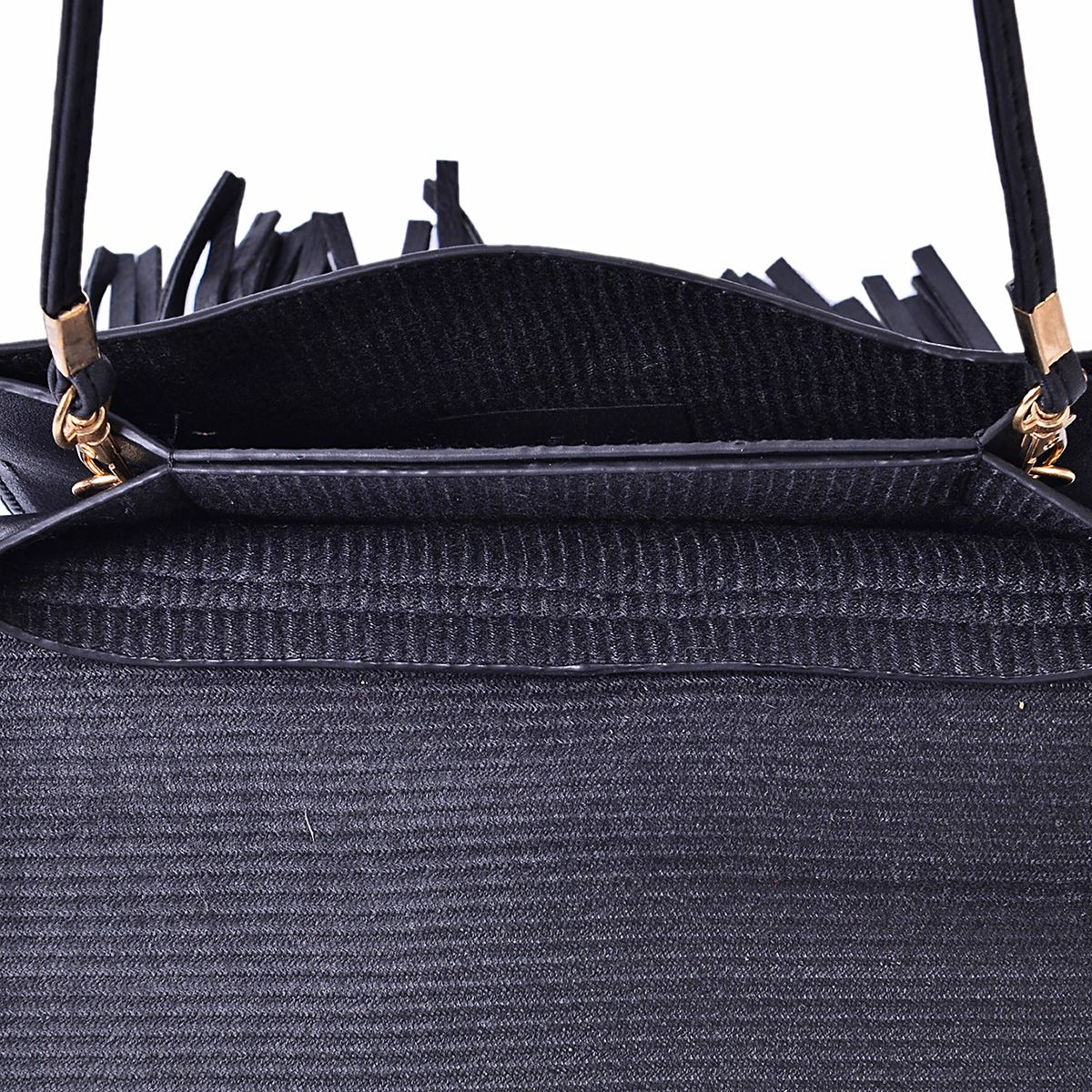 J Francis - Openwork Black Faux Leather Flap Over Crossbody Bag With Fringe (8x5.5 in)