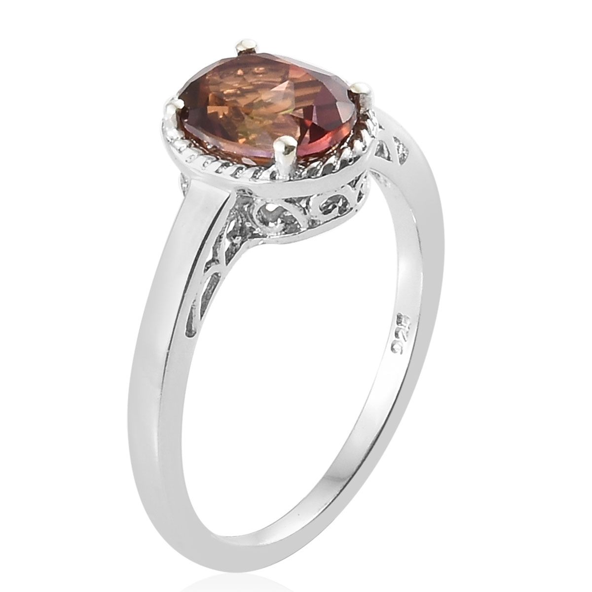 Calico Biddy Topaz Platinum Over Sterling Silver Ring (Size 8.0) TGW 2.25 cts.