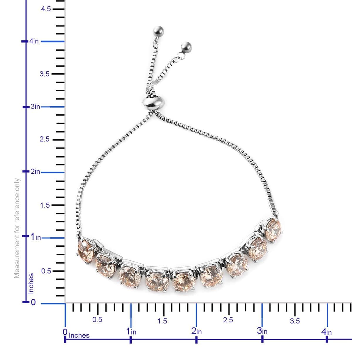 Steel-Cubic-Zirconia-CZ-Orange-Elegant-Adjustable-Bolo-Bracelet-for-Women-Ct-21 thumbnail 18