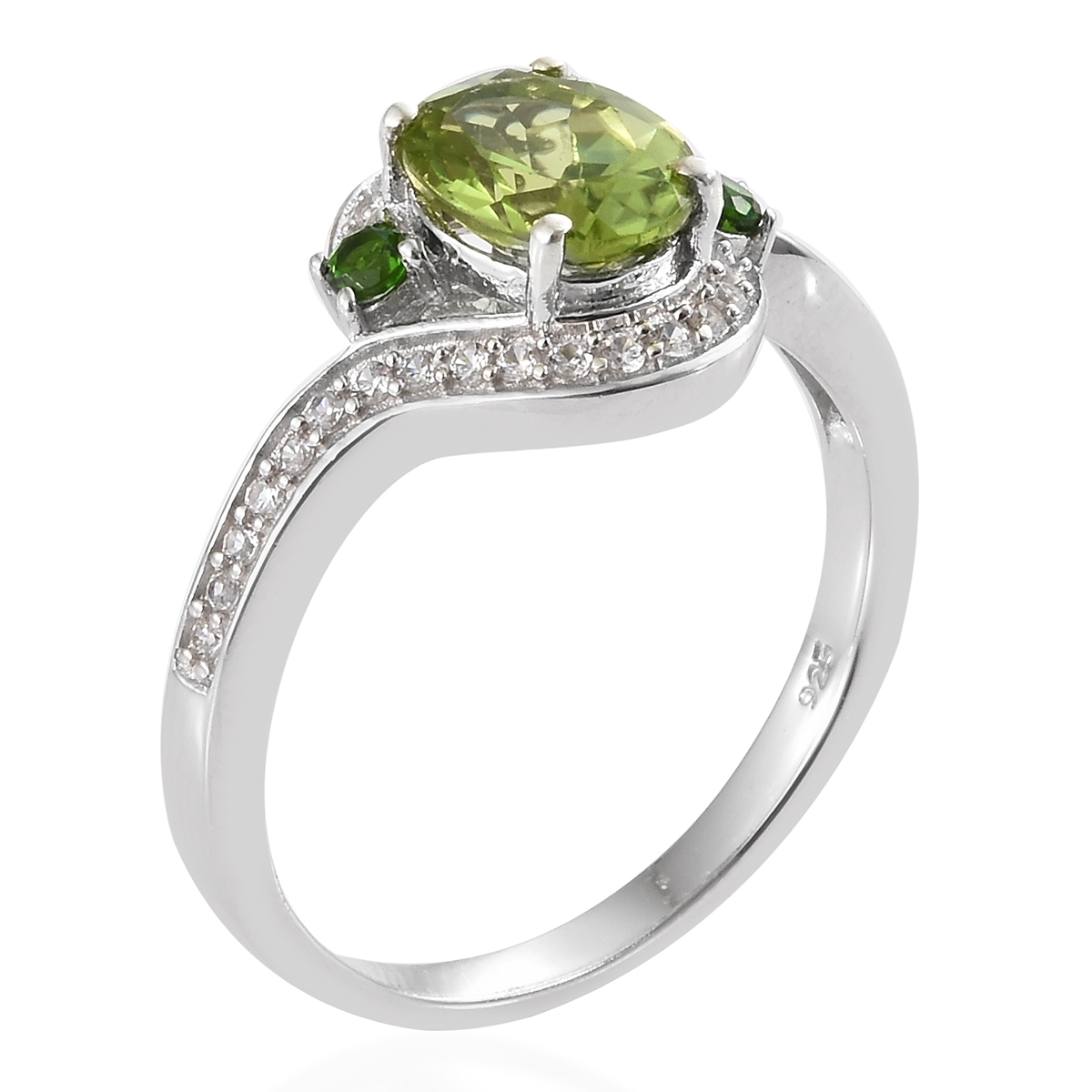 Hebei Peridot, Multi Gemstone Platinum Over Sterling Silver Ring (Size 5.0) TGW 2.50 cts.