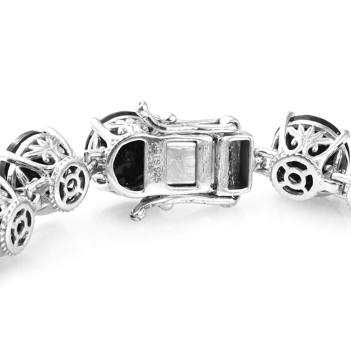 Thai Black Spinel Bracelet in Platinum Over Sterling Silver (7.25 In) (18.03 g) 65.75 ctw