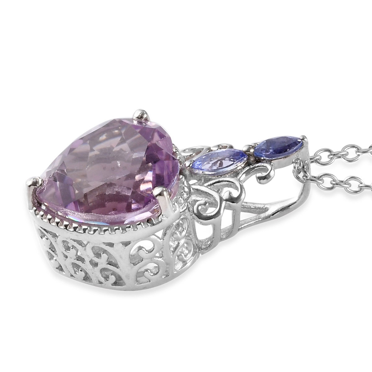 Rose De France Amethyst, Tanzanite Platinum Over Sterling Silver Pendant With Chain (20 in) TGW 5.65 cts.