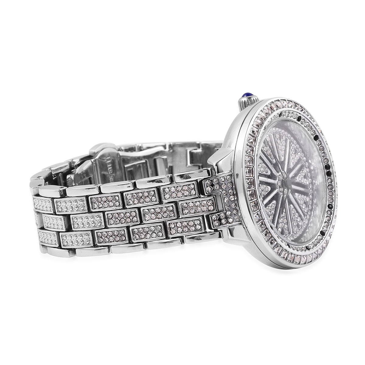 GENOA White and Black Austrian Crystal Miyota Japanese Movement Water Resistant Watch in Silvertone with Stainless Steel Back TGW 5.34 cts.