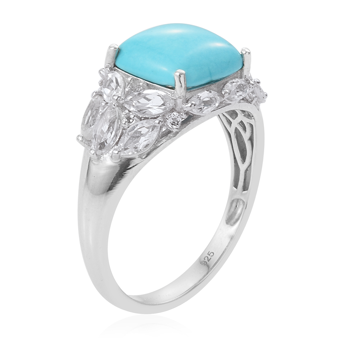 Arizona Sleeping Beauty Turquoise, White Topaz Ring in Platinum Over Sterling Silver (Size 8.0) 5.76 ctw