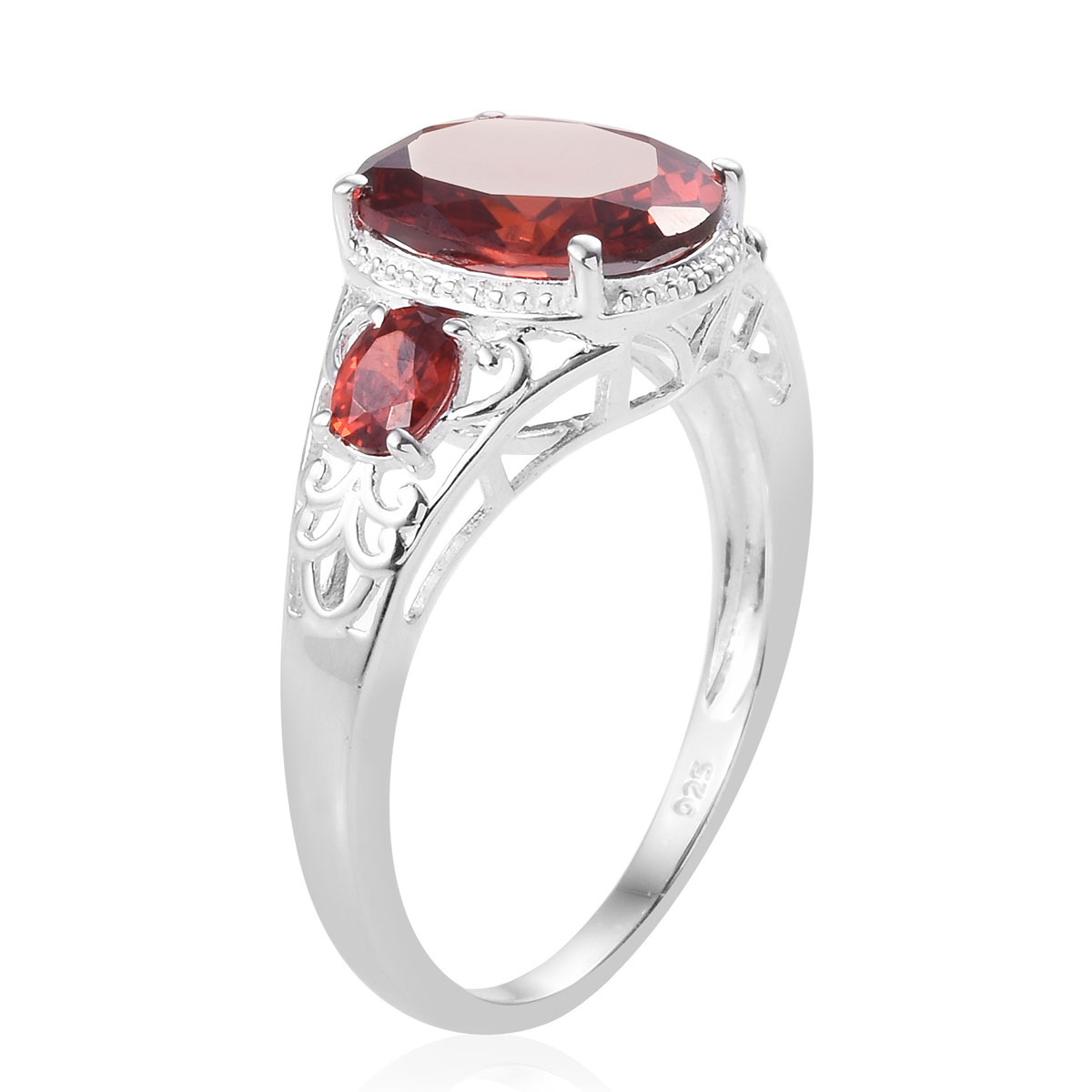 Red CZ Ring in Sterling Silver (Size 6.0) 9.15 ctw