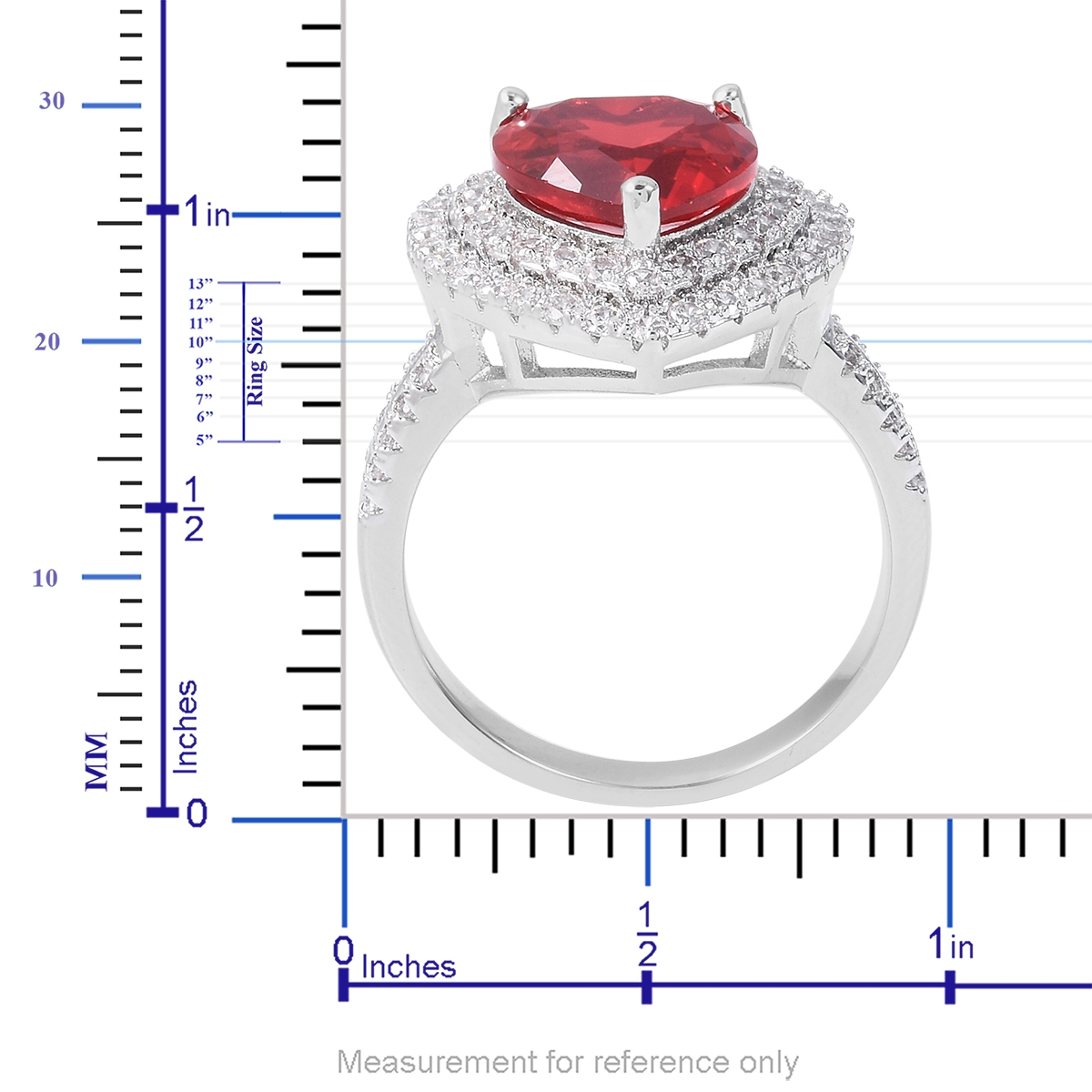 Red Glass, White CZ Heart Ring in Silvertone (Size 11.0) 1.40 ctw