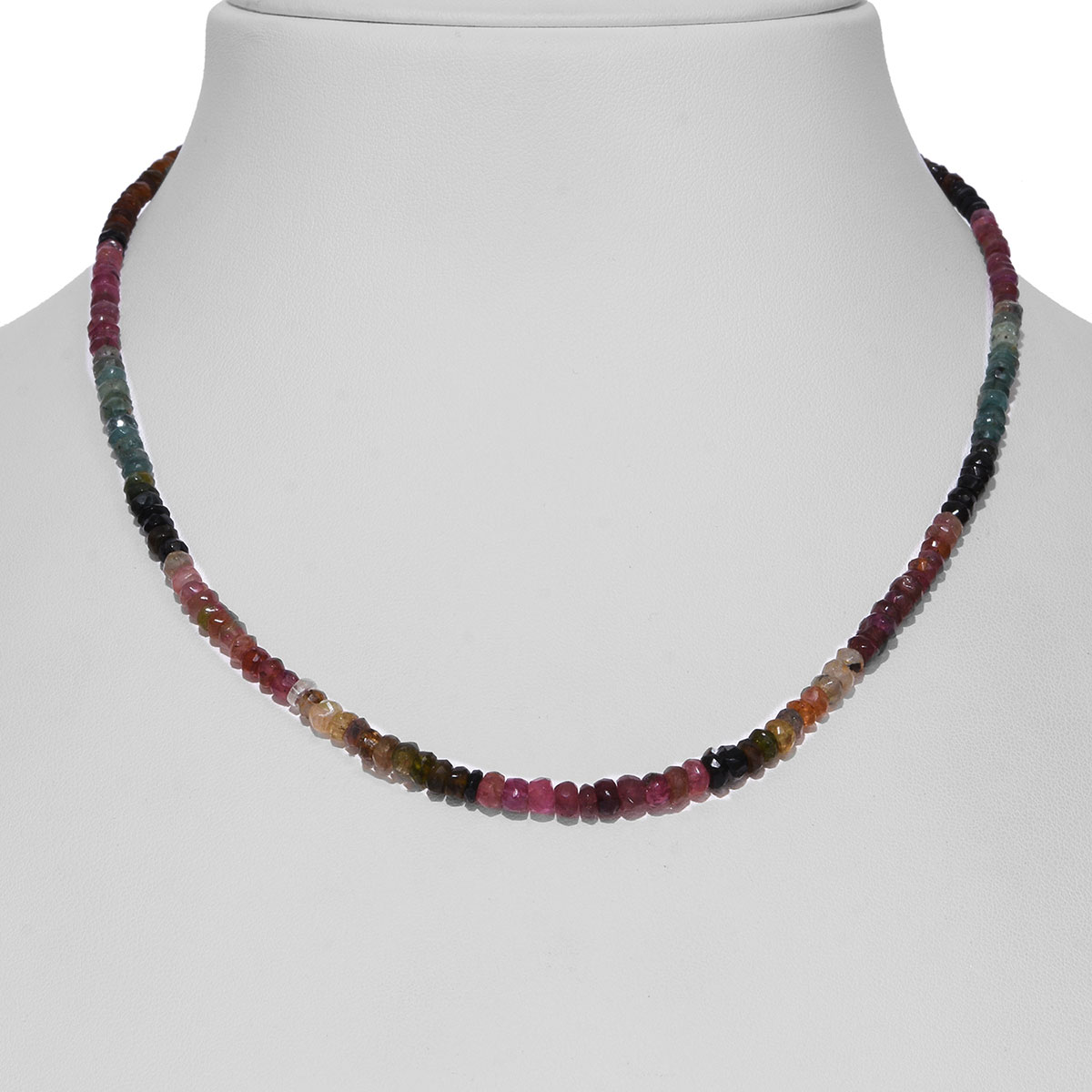 3556f7b2b7f30 Multi-Tourmaline Beaded Necklace (18 in) in Sterling Silver 40.00 ctw