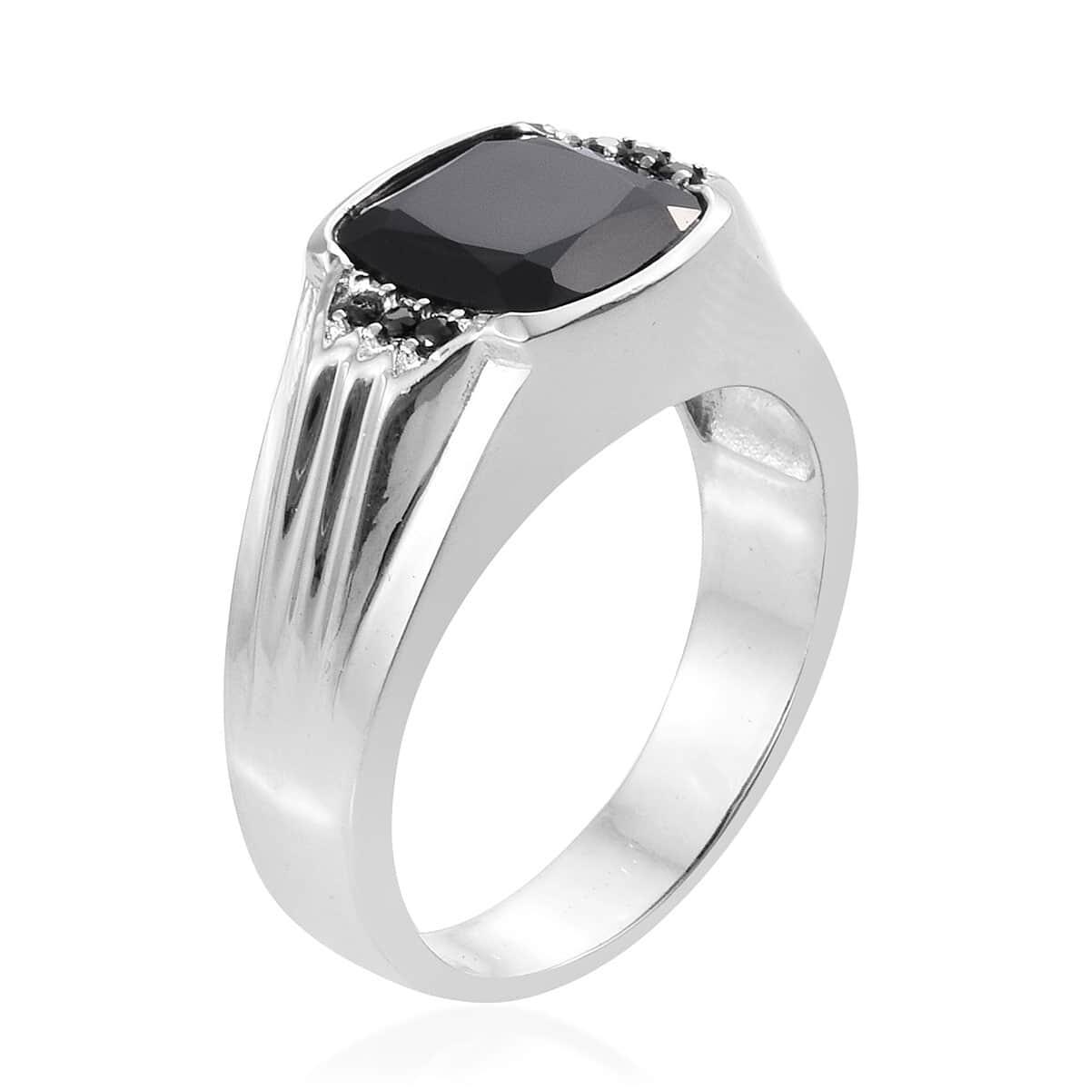 Thai Black Spinel Stainless Steel Men's Ring (Size 12.0) 6.12 ctw