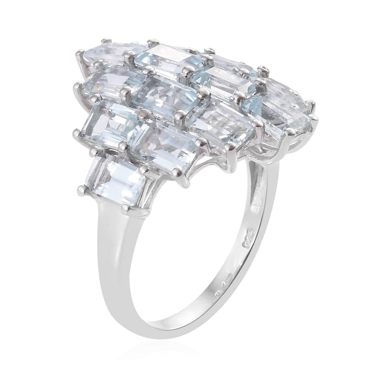 Espirito Santo Aquamarine Ring in Platinum Over Sterling Silver (Size 7.0) 8.60 ctw