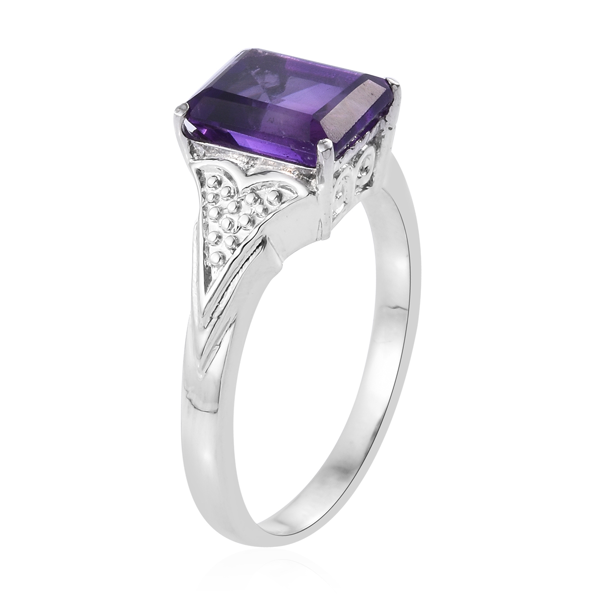 Shop LC Delivering Joy Solitaire Ring Stainless Steel Octagon Amethyst Gift Jewelry for Women Size 6 Cttw 2.6