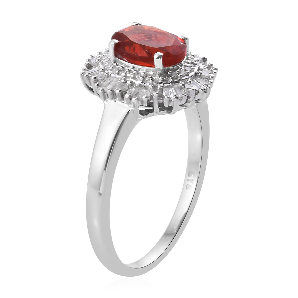 Cherry Fire Opal, Diamond (0.43 ct) Halo Ring in Platinum Over Sterling Silver (Size 8.0) 1.63 ctw