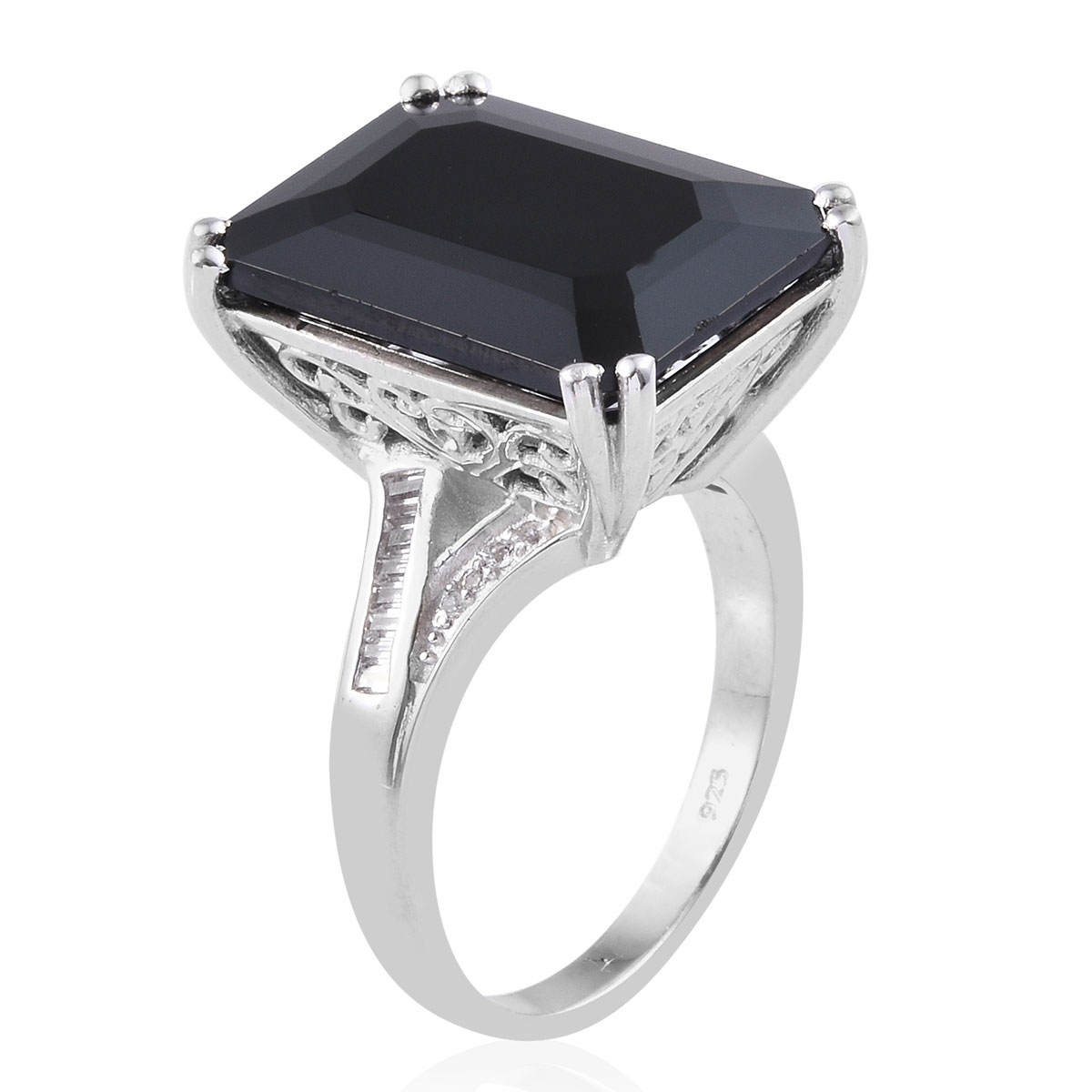 Thai Black Spinel, White Topaz Ring in Platinum Over Sterling Silver (Size 8.0) 26.44 ctw