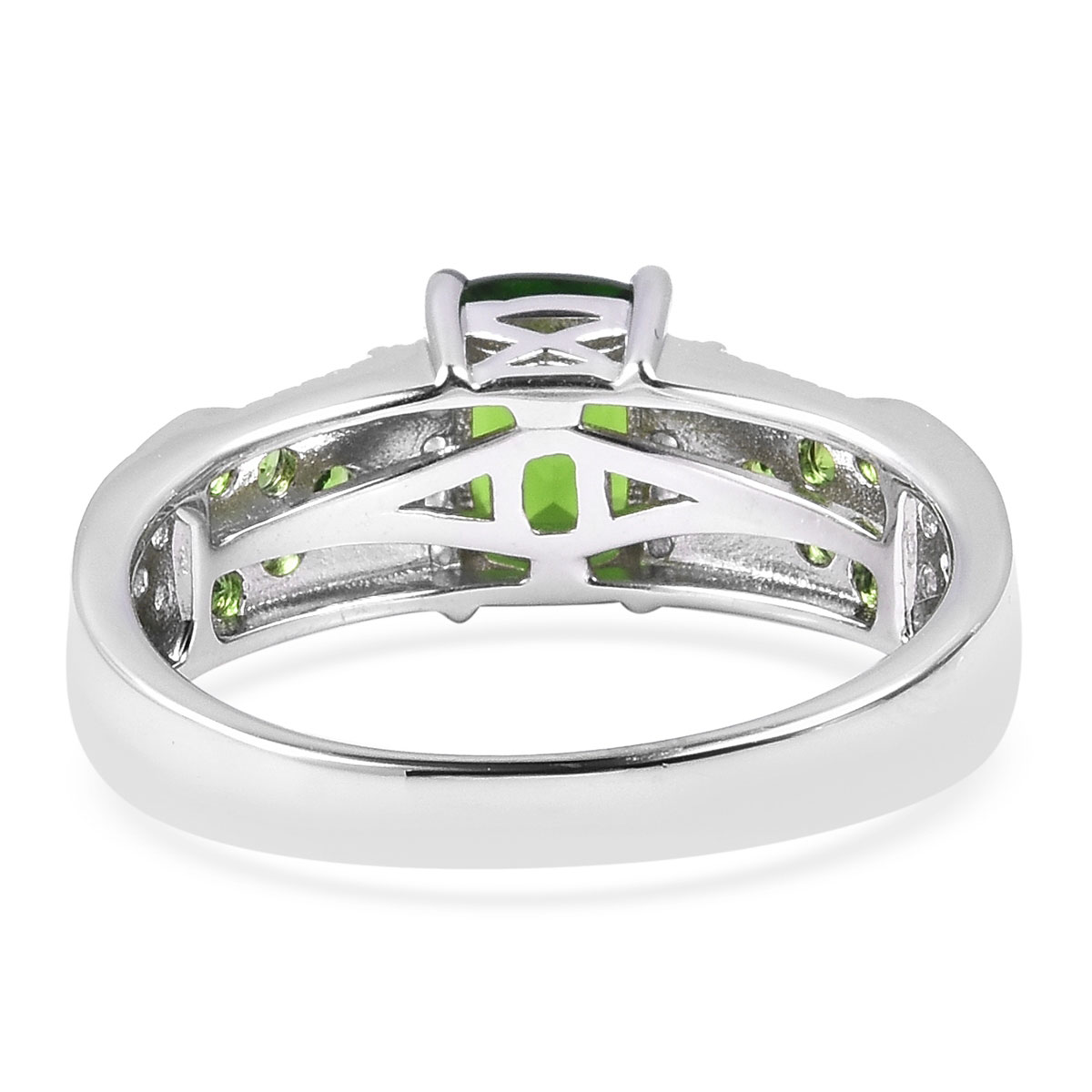 Russian Diopside, White Zircon Ring in Sterling Silver (Size 5.0) 1.80 ctw