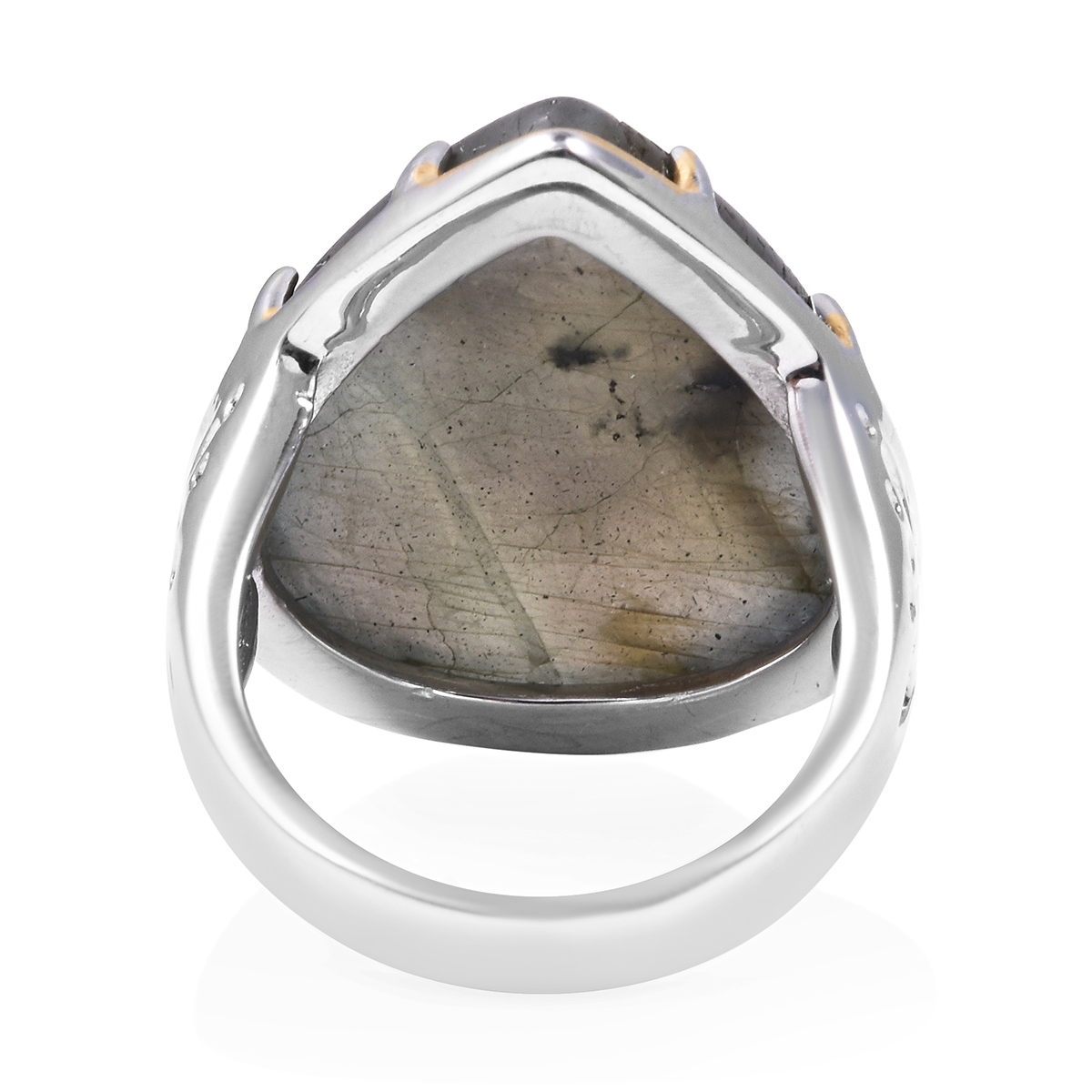 Malagasy Labradorite Ring in ION Plated YG & Stainless Steel (Size 8.0) 30.00 ctw