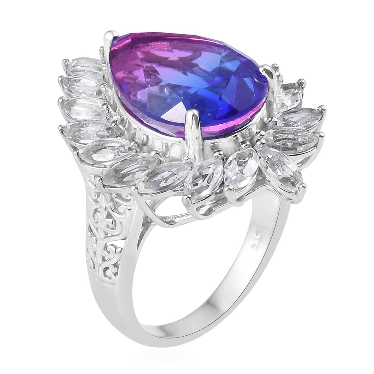 Midnight Fuchsia Quartz, White Topaz Ring in Platinum Over Sterling Silver (Size 7.0) 17.85 ctw