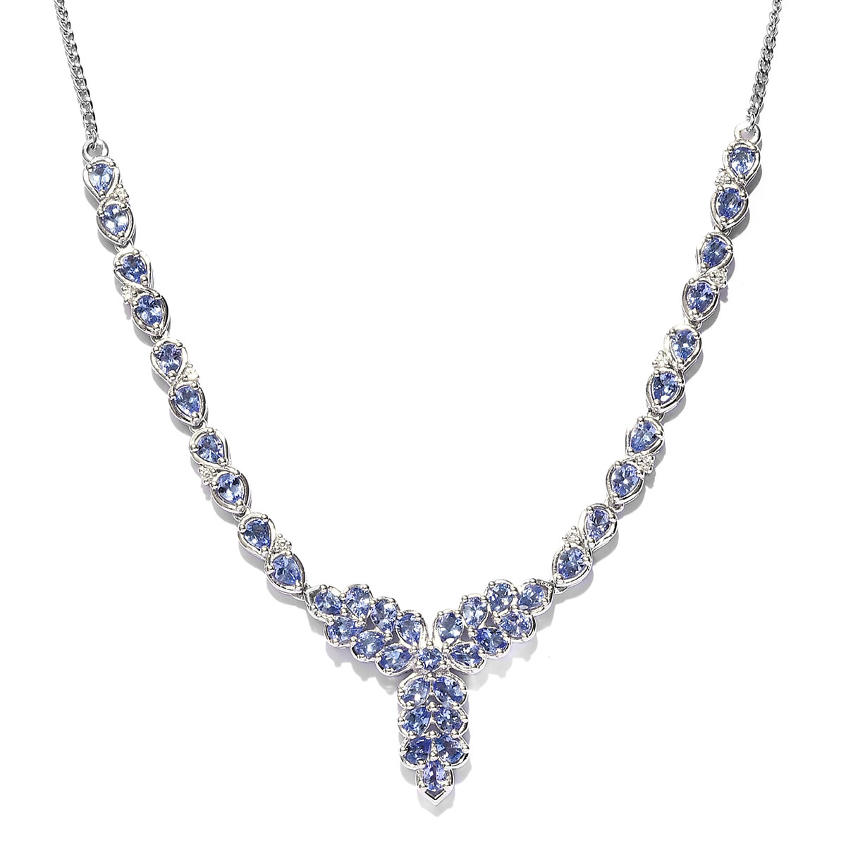 Tanzanite, Cambodian Zircon Necklace (18 in) in Platinum Over Sterling Silver 6.11 ctw