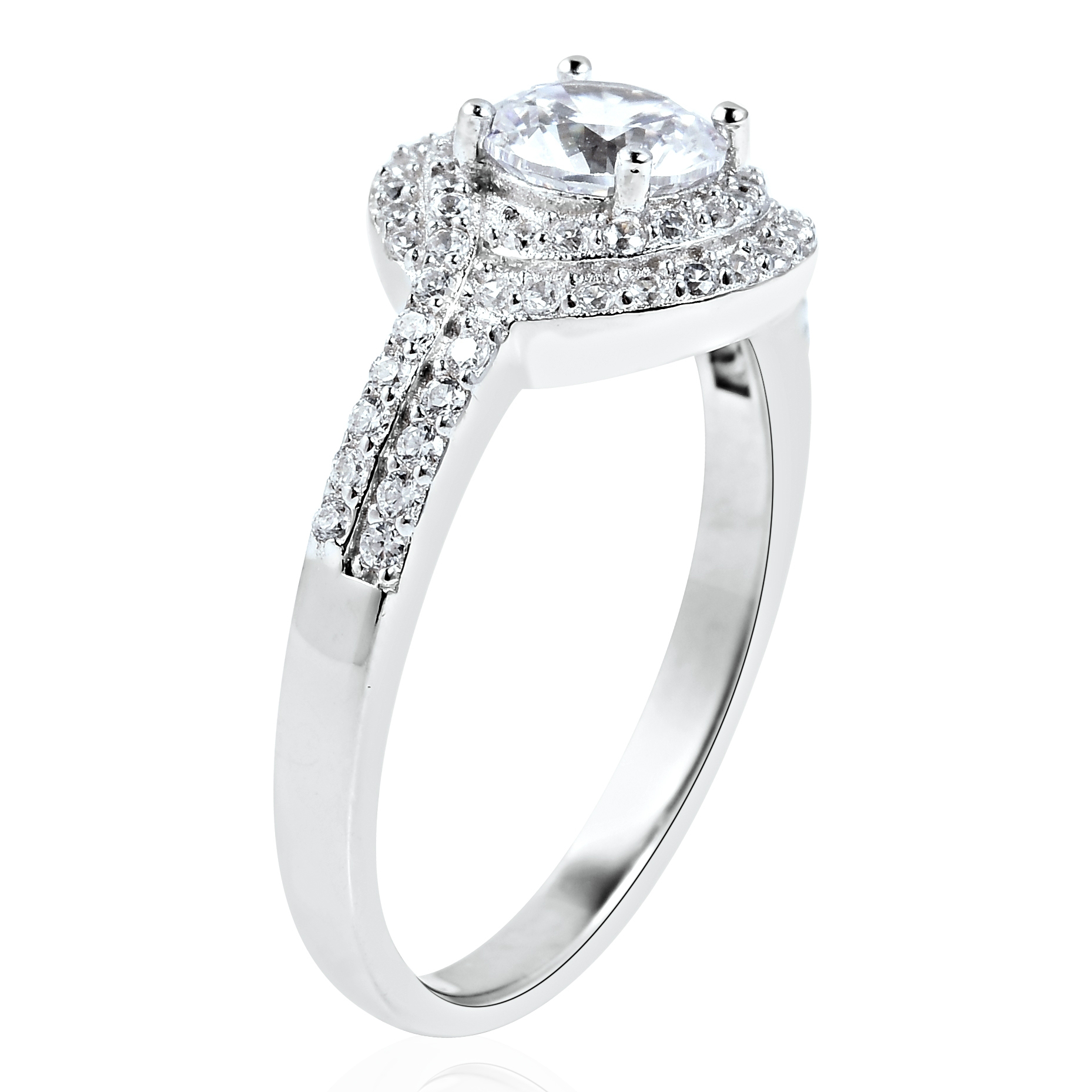 LUSTRO STELLA CZ Ring in Sterling Silver (Size 5.0) 1.65 ctw