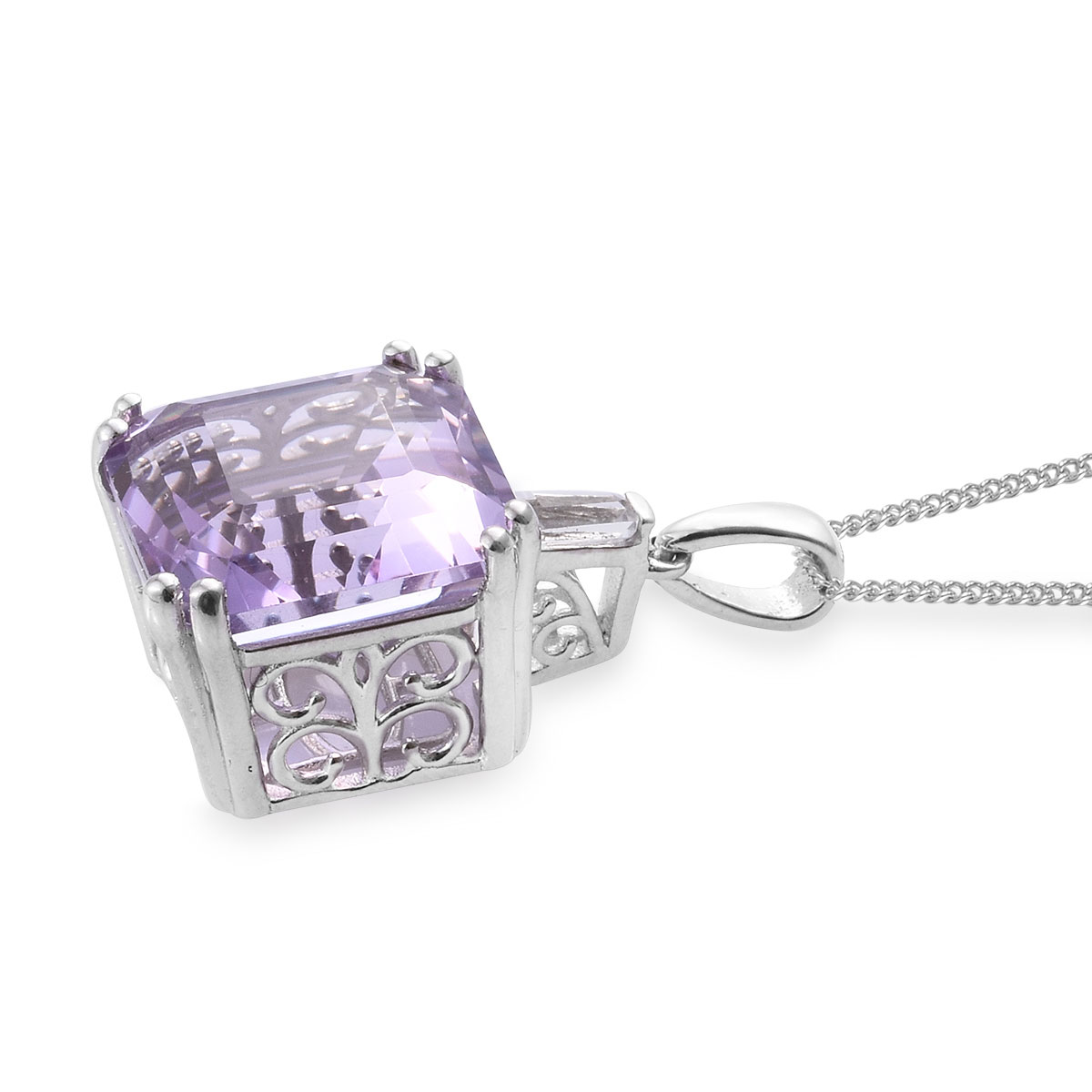 Asscher Cut Rose De France Amethyst, White Topaz Pendant Necklace (20 in) in Platinum Over Sterling Silver 12.25 ctw