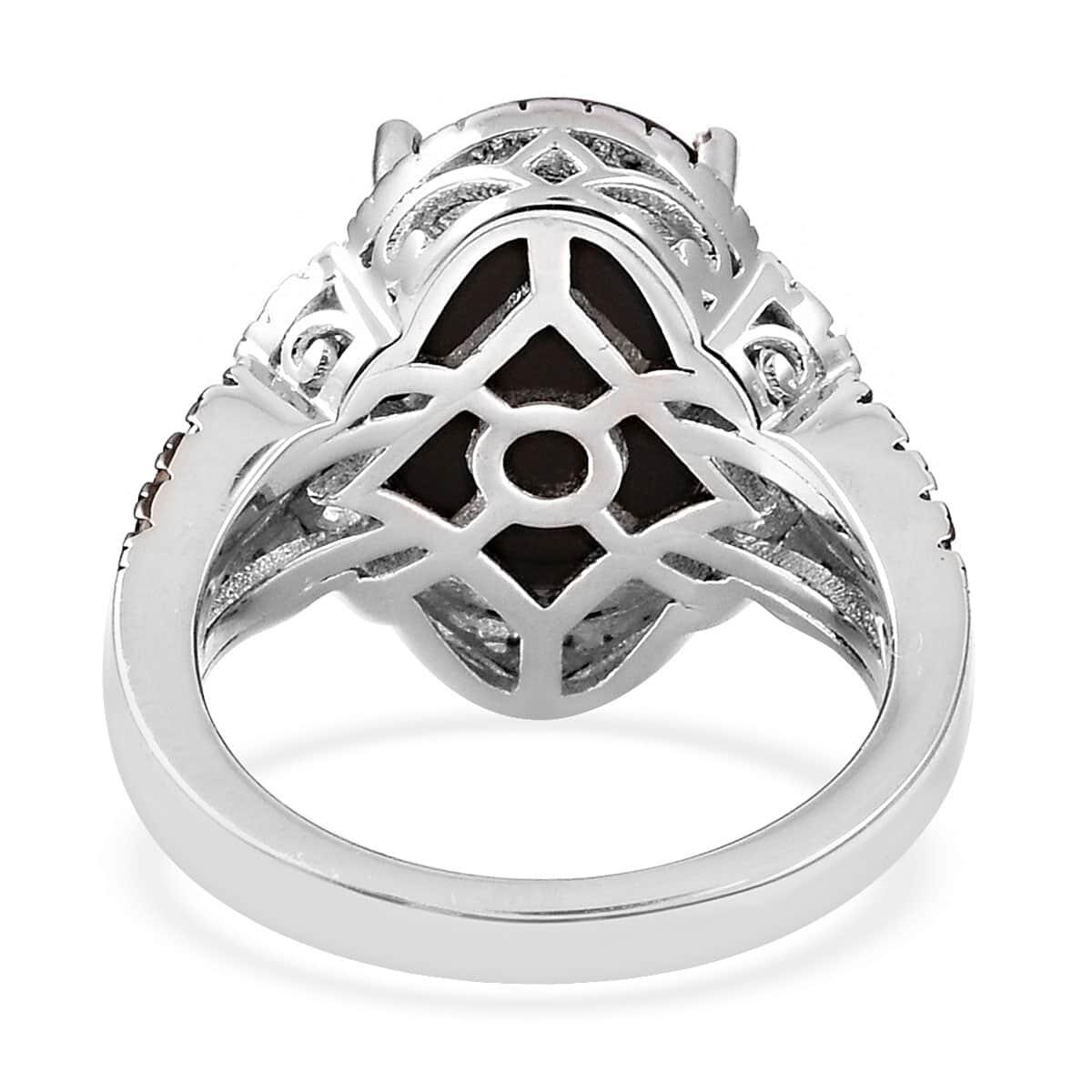 Canadian Ammolite, Multi Diamond Ring in Black Rhodium & Sterling Silver (Size 10.0) 0.40 ctw