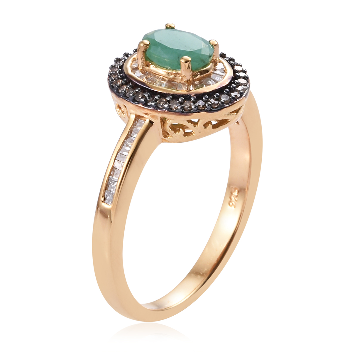 Socoto Emerald, Diamond (0.42 ct) Double Halo Ring in Vermeil YG Over Sterling Silver (Size 9.0) 1.17 ctw