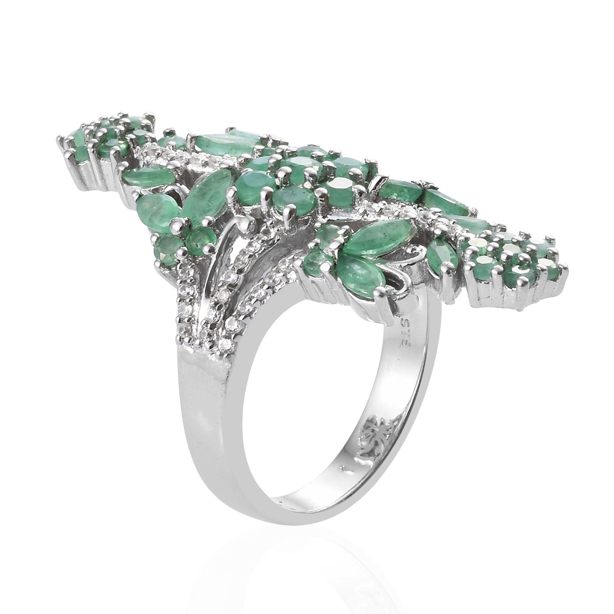 Socoto Emerald, Cambodian Zircon Ring in Platinum Over Sterling Silver (Size 6.0) 3.52 ctw