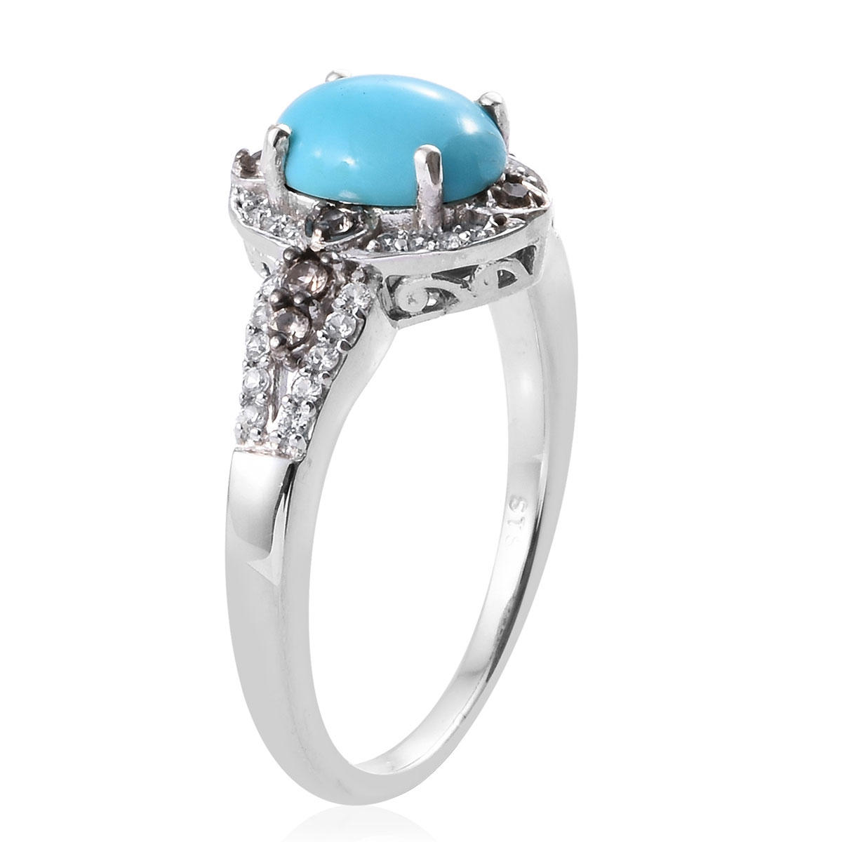 Arizona Sleeping Beauty Turquoise, Multi Gemstone Ring in Platinum Over Sterling Silver (Size 5.0) 2.11 ctw