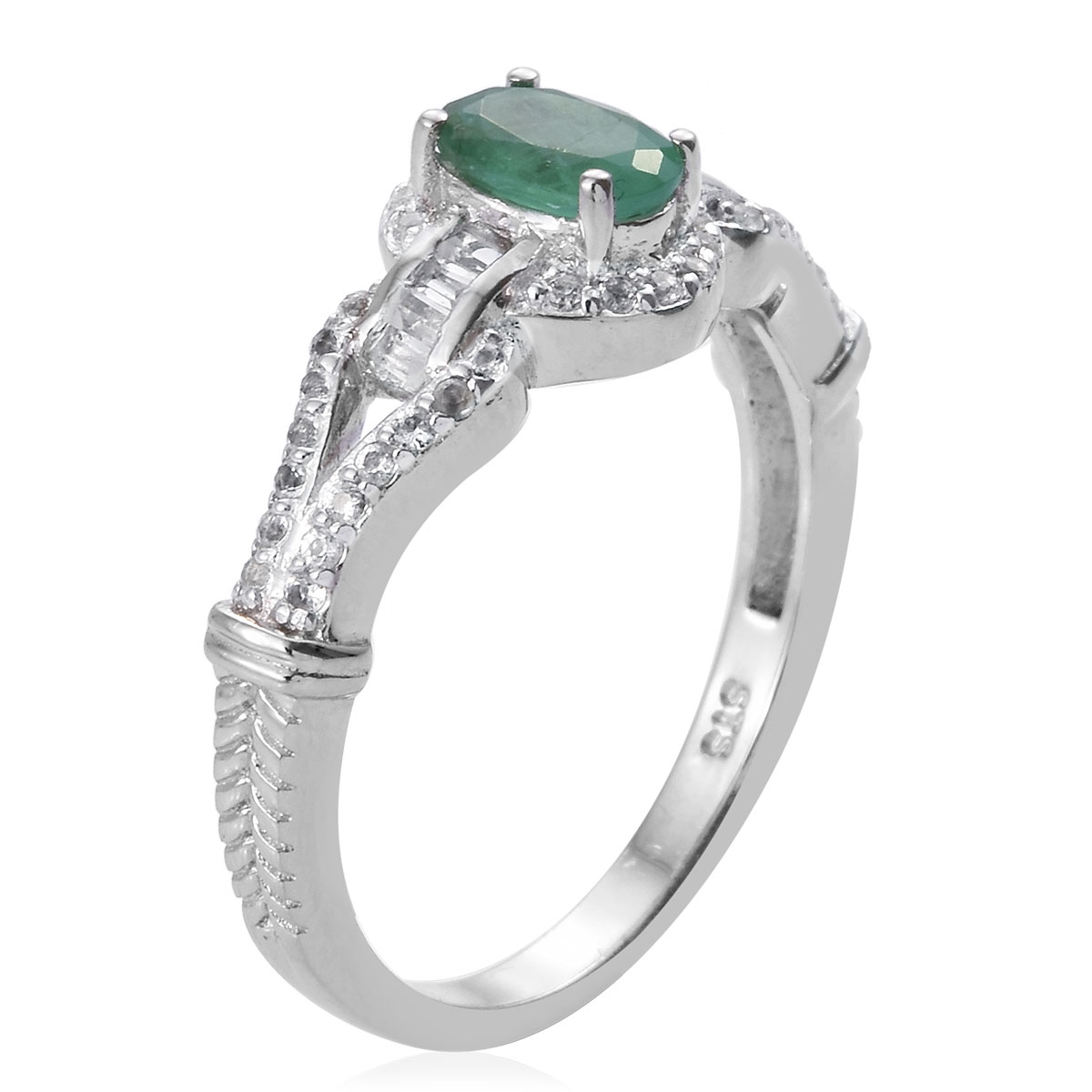 Socoto Emerald, White Topaz Ring in Platinum Over Sterling Silver (Size 5.0) 1.25 ctw