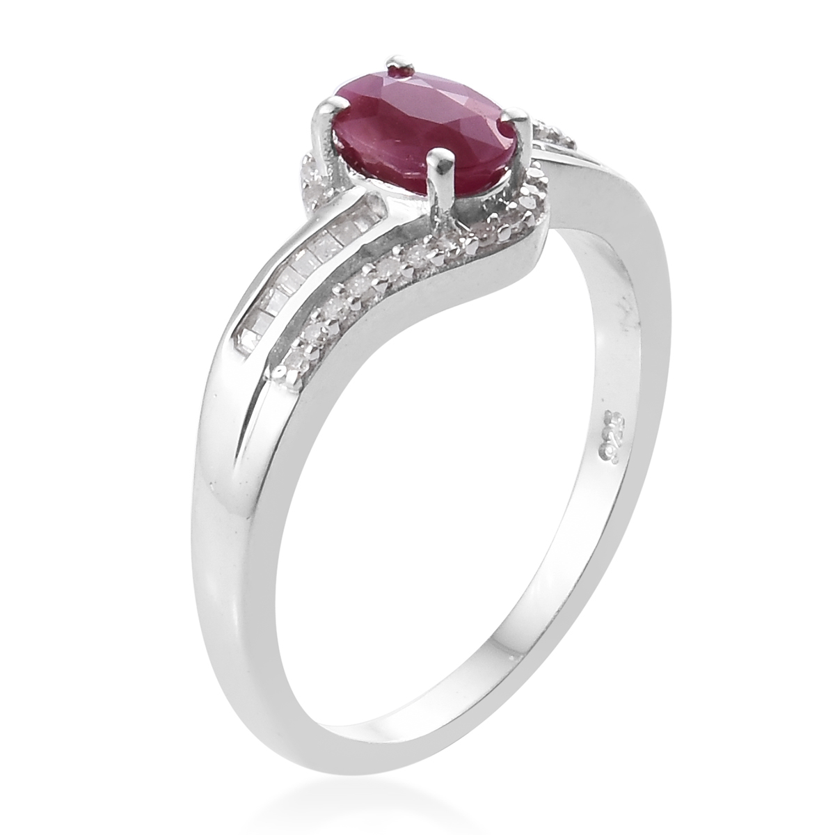 Burmese Ruby, Diamond (0.22 ct) Ring in Platinum Over Sterling Silver (Size 8.0) 1.27 ctw
