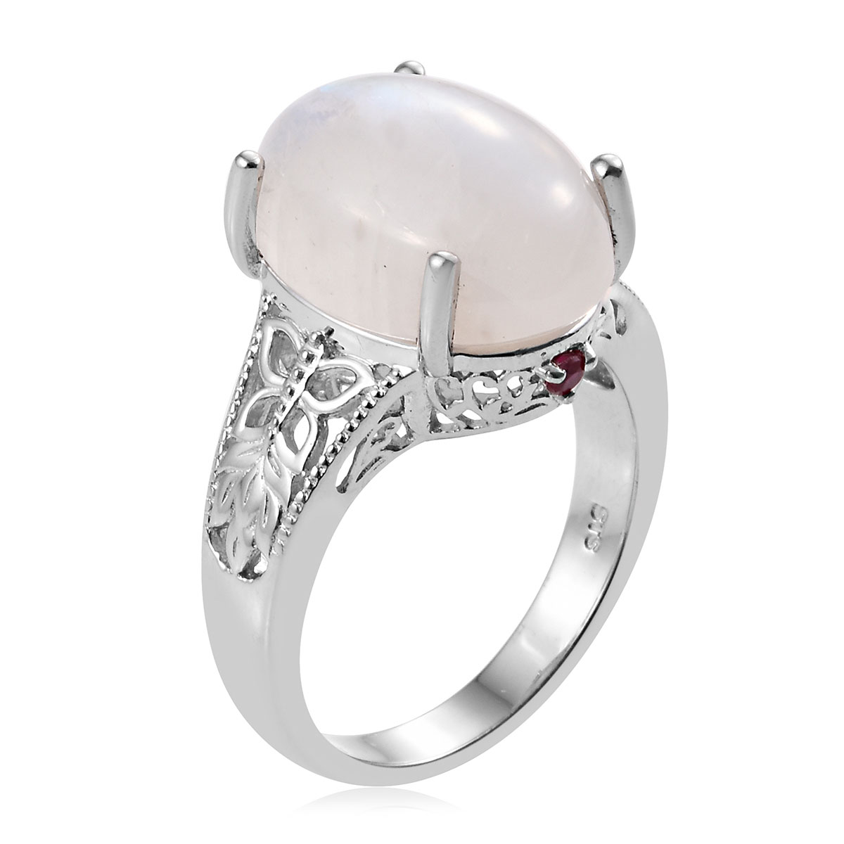 Rainbow Moonstone, Mundarara Ruby Ring in Platinum Over Sterling Silver (Size 7.0) 13.75 ctw