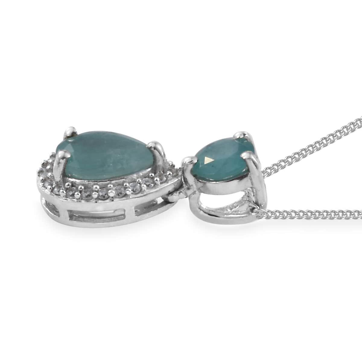 Grandidierite, Cambodian Zircon Pendant Necklace (20 in) in Platinum Over Sterling Silver 1.80 ctw