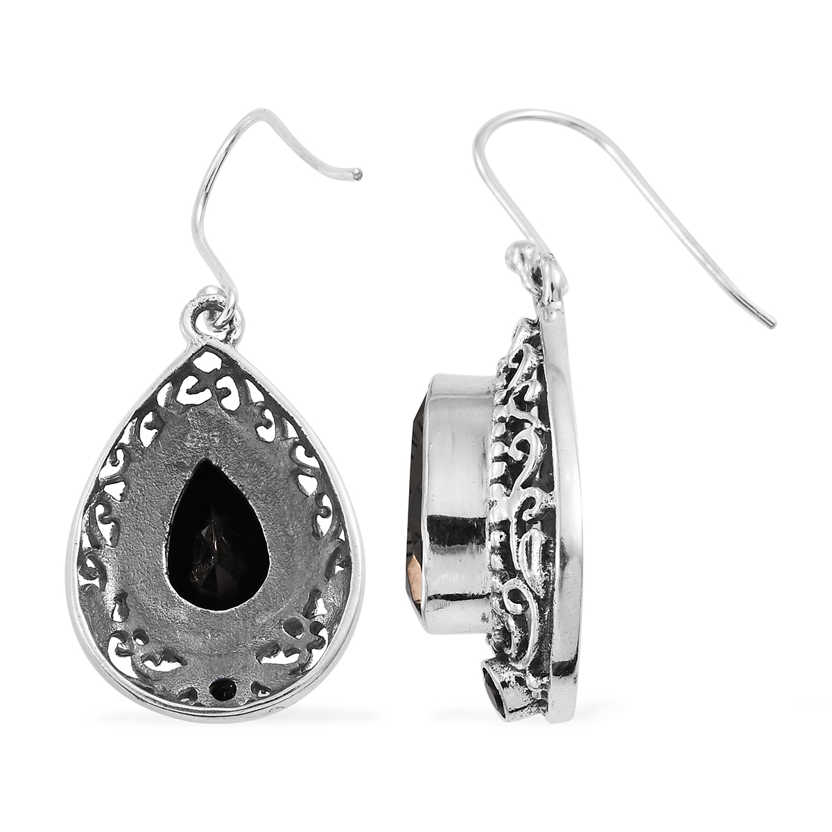 Artisan Crafted Silver Shungite, Thai Black Spinel Dangle Earrings in Sterling Silver 6.74 ctw