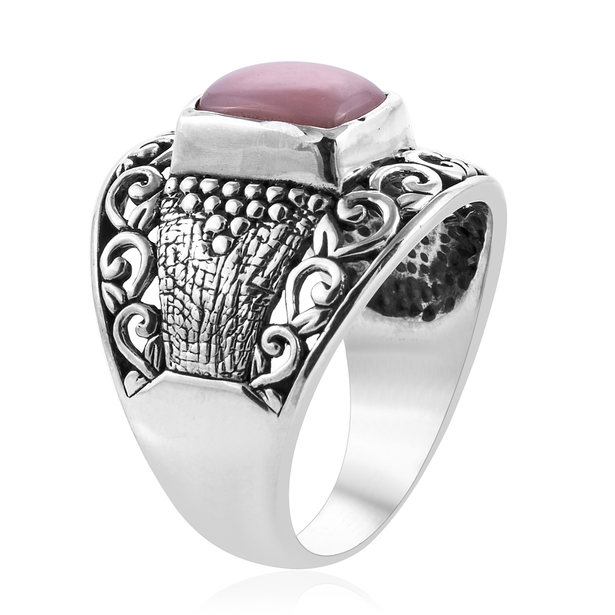 Bali Legacy Peruvian Pink Opal Ring in Sterling Silver (Size 7.0) 2.15 ctw