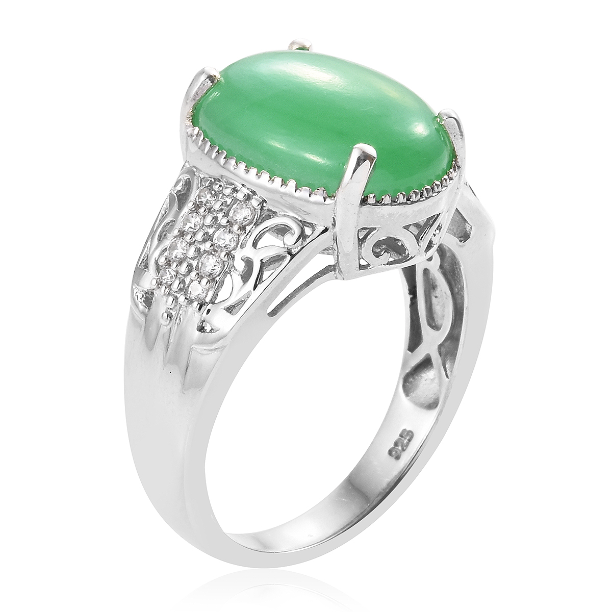 Burmese Green Jade, Cambodian Zircon Ring in Platinum Over Sterling Silver (Size 7.0) 10.13 ctw