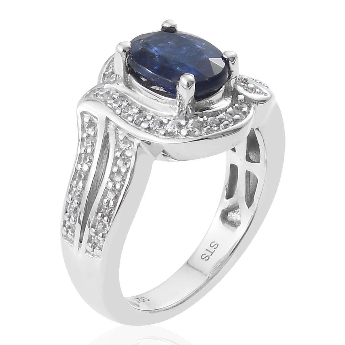 Kashmir Kyanite, Cambodian Zircon Ring in Platinum Over Sterling Silver (Size 10.0) 1.97 ctw