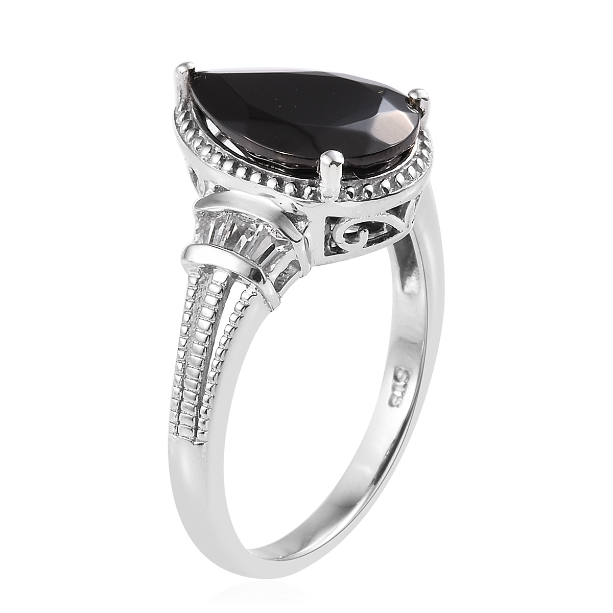 Shungite, White Topaz Ring in Platinum Over Sterling Silver (Size 5.0) 3.32 ctw