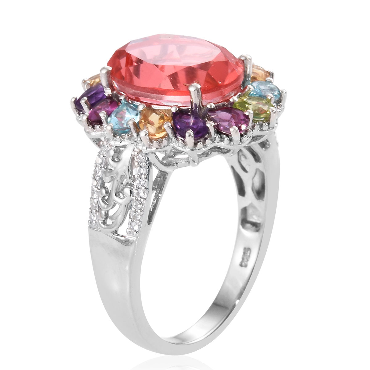 Living Coral Quartz, Multi Gemstone Ring in Platinum Over Sterling Silver (Size 11.0) 8.80 ctw