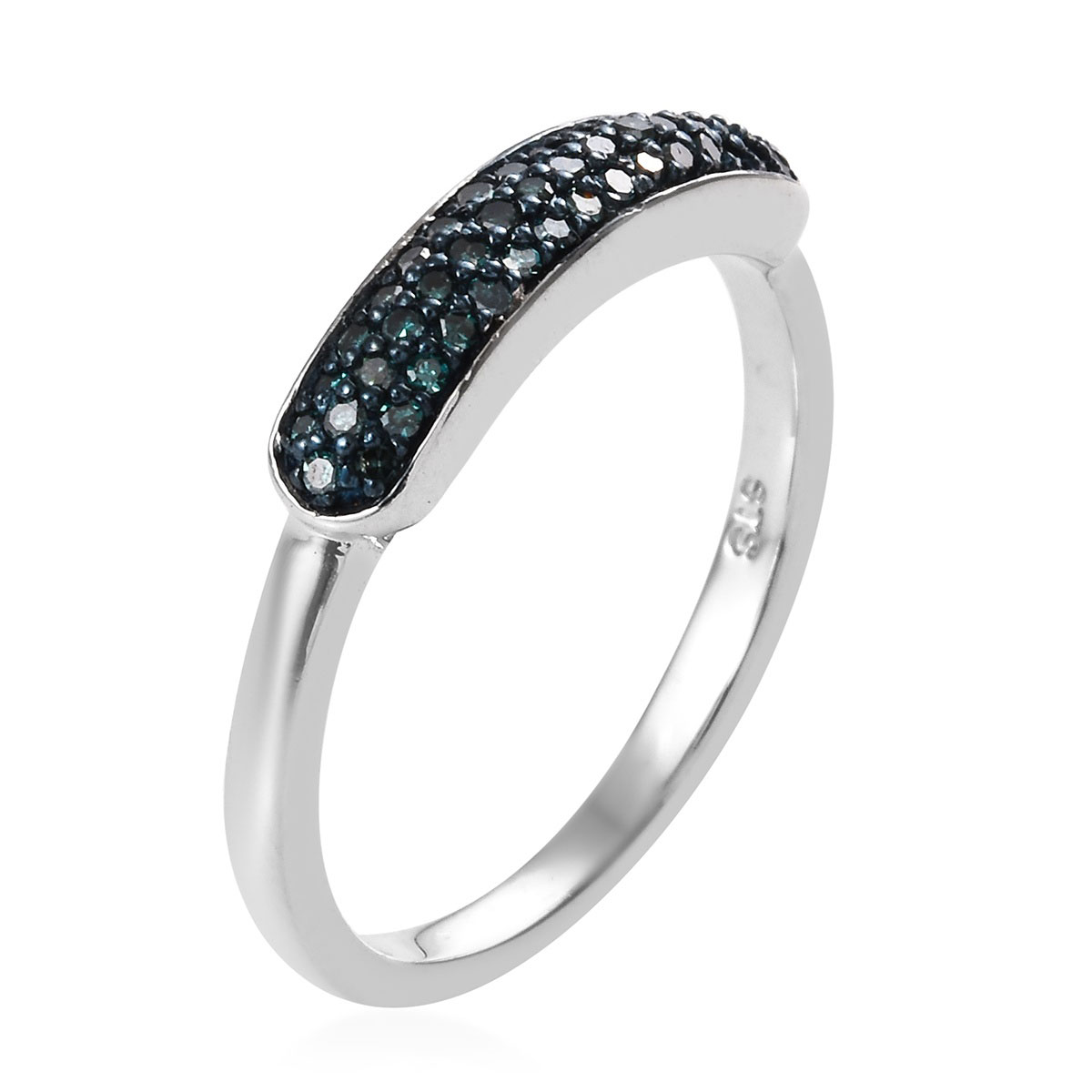 Blue Diamond (IR) Ring in Blue Rhodium & Platinum Over Sterling Silver (Size 9.0) 0.25 ctw