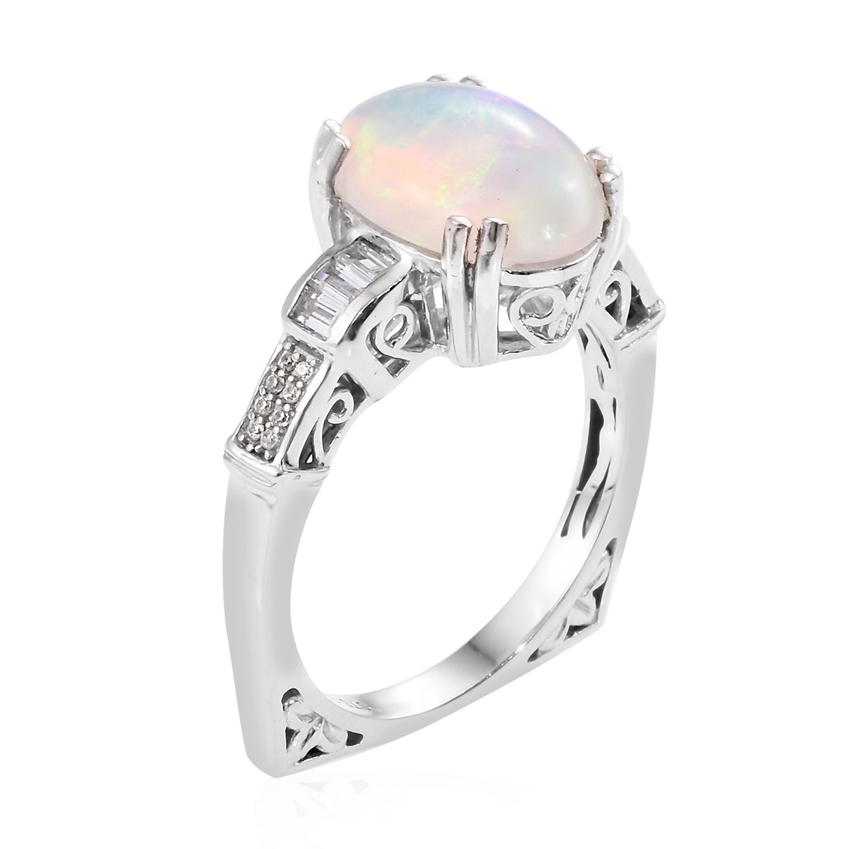Opal Zircon Promise Ring 925 Sterling Silver Platinum ...