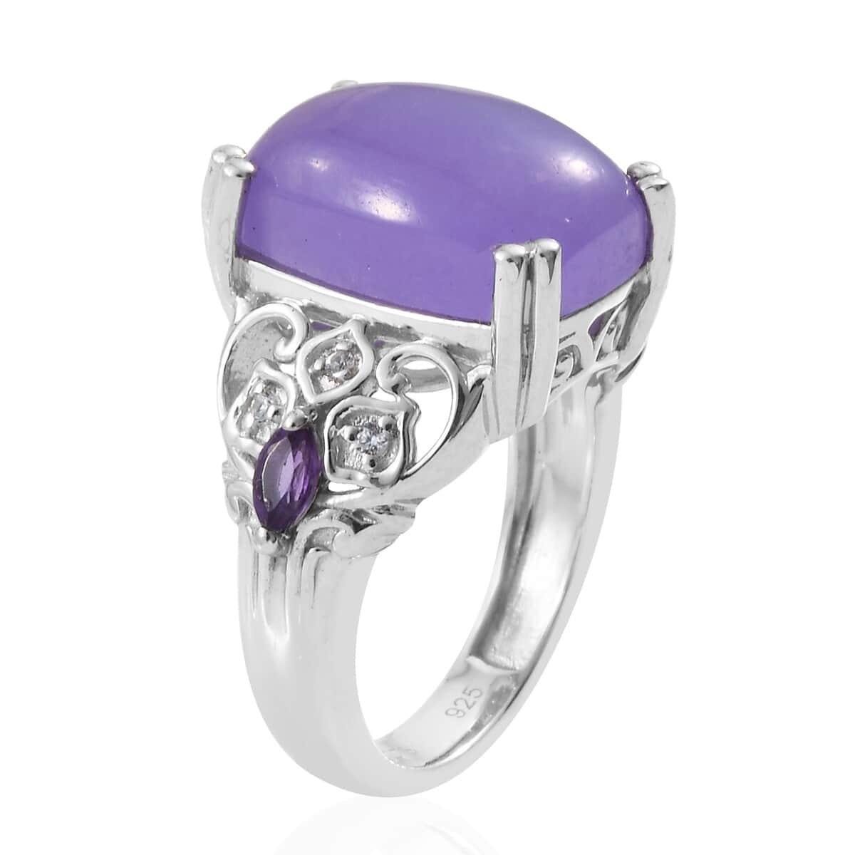 Burmese Purple Jade, Multi Gemstone Ring in Platinum Over Sterling Silver (Size 5.0) 9.00 ctw