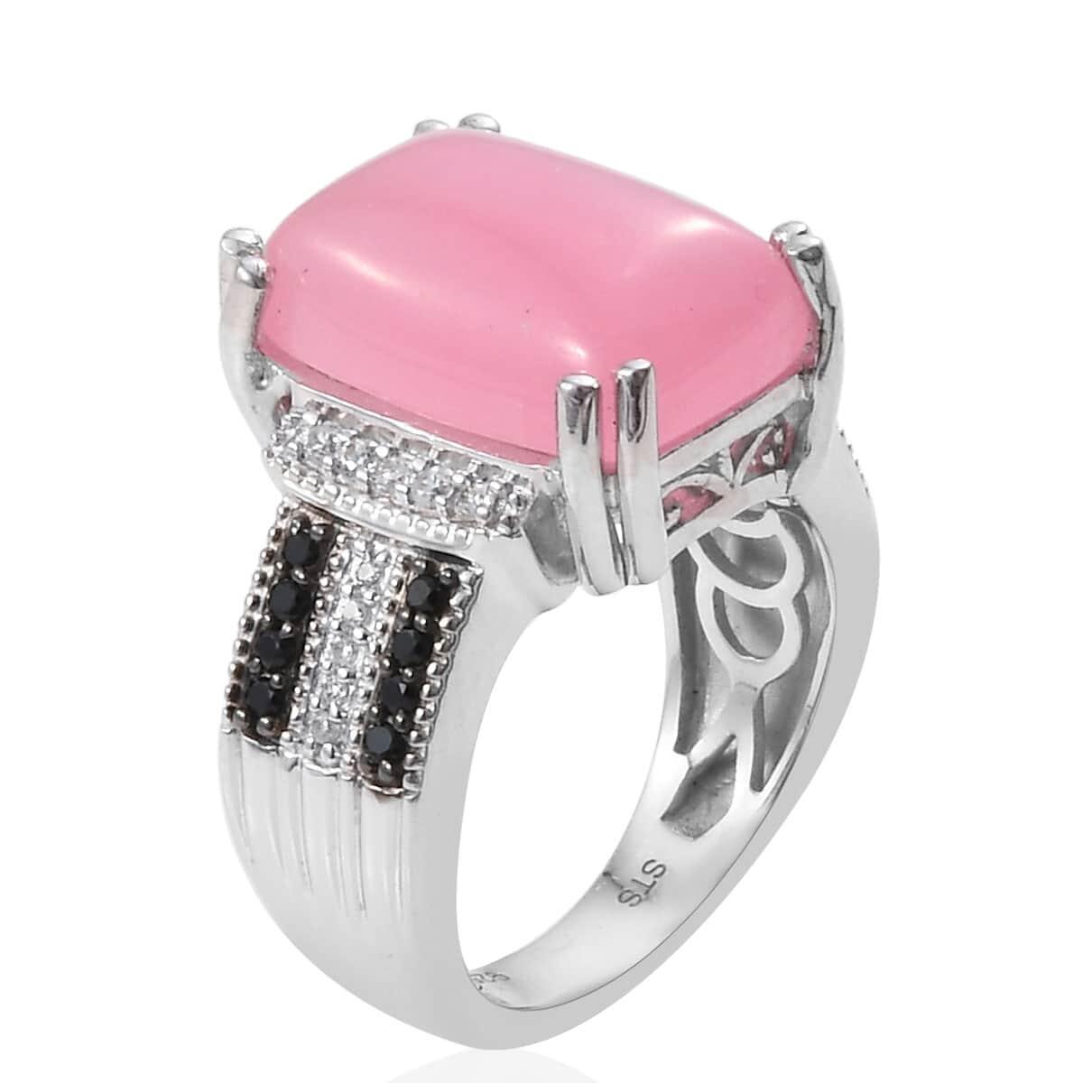 Burmese Pink Jade, Multi Gemstone Ring in Platinum Over Sterling Silver (Size 5.0) 8.61 ctw