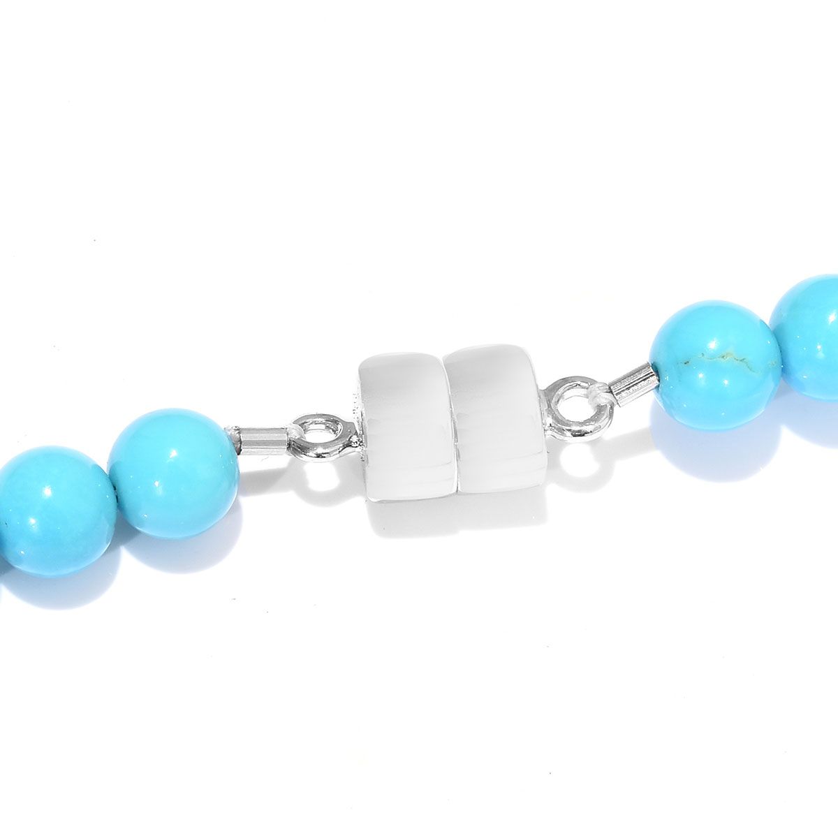 ILIANA Arizona Sleeping Beauty Turquoise Beaded Necklace (18 in) in 18K White Gold 150.00 ctw