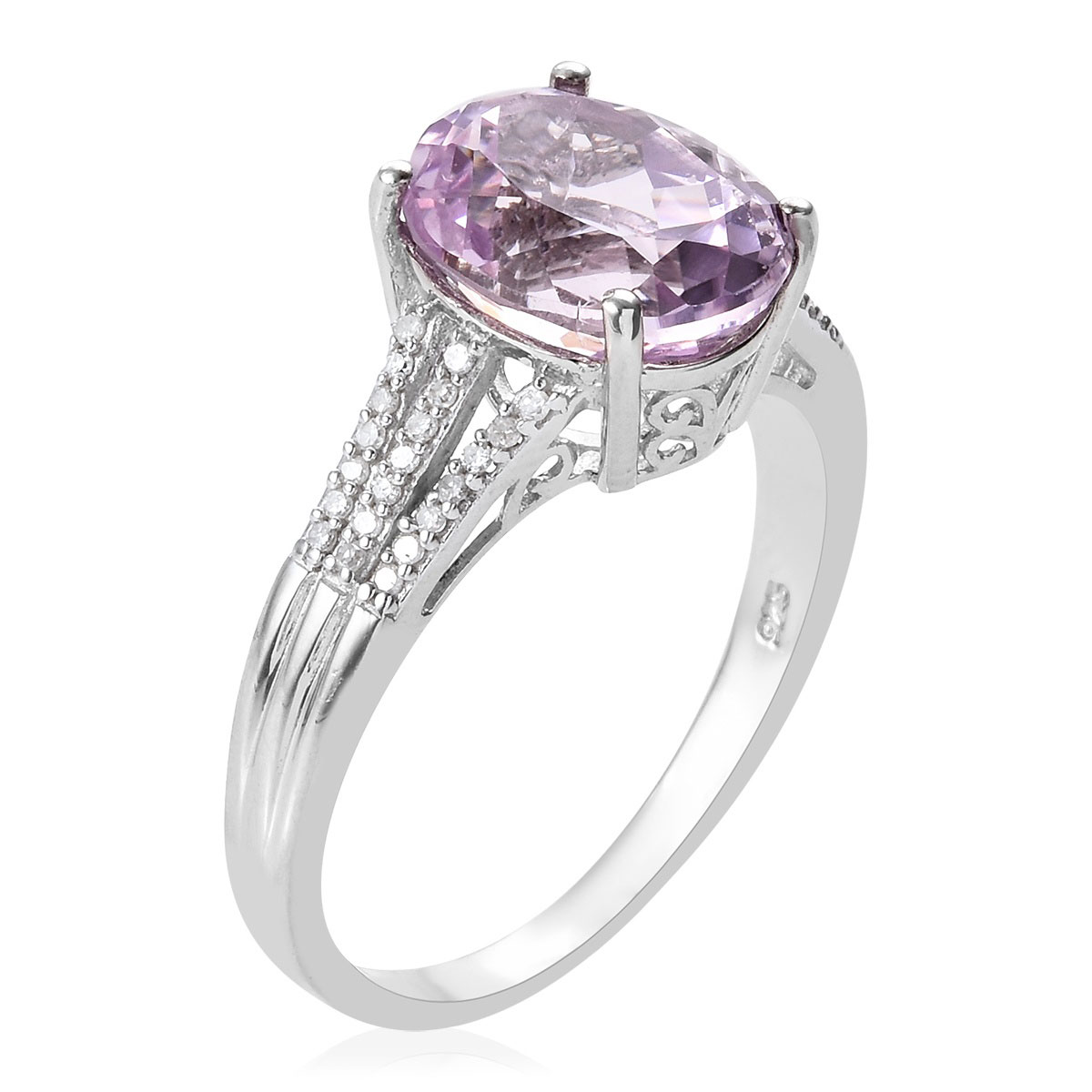 AA Premium Martha Rocha Kunzite, Diamond (0.15 ct) Ring in Platinum Over Sterling Silver (Size 11.0) 6.45 ctw