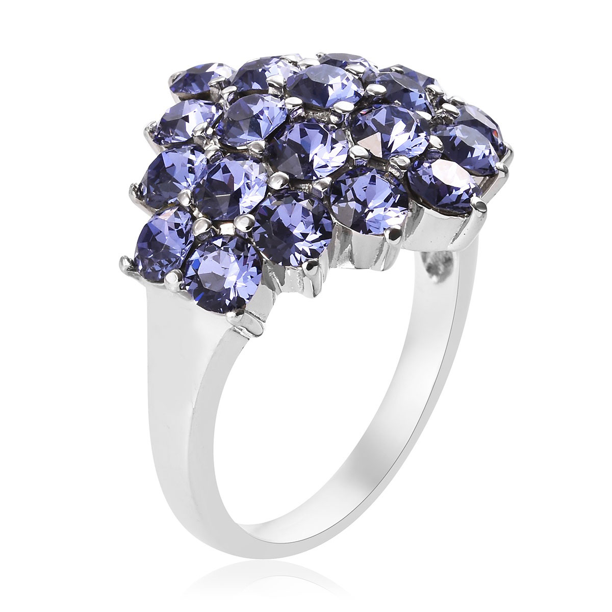 Ring in Stainless Steel (Size 5.0) Made with SWAROVSKI Crystal Tanzanite 4.00 ctw
