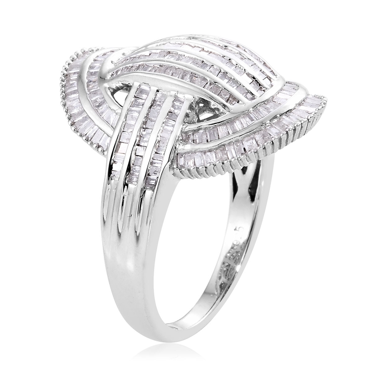 Diamond Ring in Platinum Over Sterling Silver (Size 6.0) 1.50 ctw