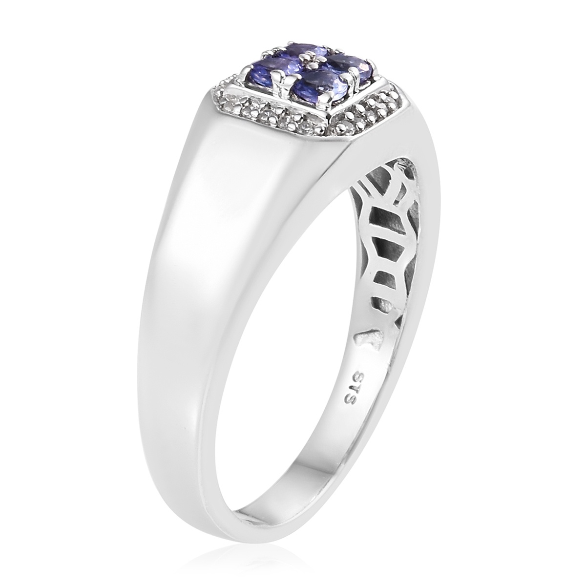 Tanzanite, Zircon Men's Ring in Platinum Over Sterling Silver (Size 13.0) 0.82 ctw